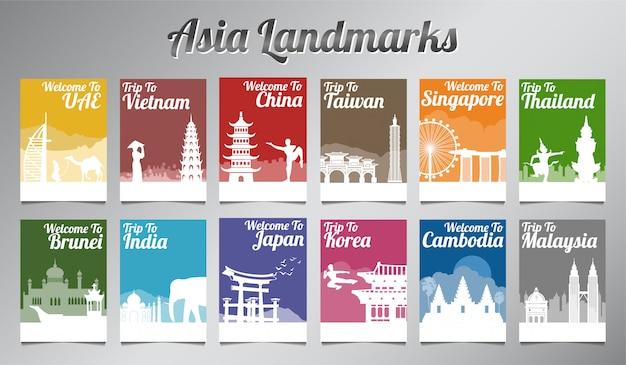 Asia słynny punkt orientacyjny w sylwetka projekt broszura zestaw