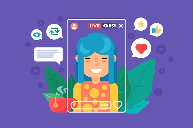Asian girl vlogger płaski kolor postaci. chińska streamerka nagrywająca transmisję na żywo. ilustracja kreskówka na białym tle transmisji online. projekt graficzny www na fioletowym tle