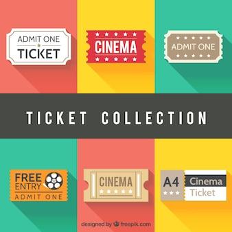 Asortyment biletów kinowych w płaskiej konstrukcji