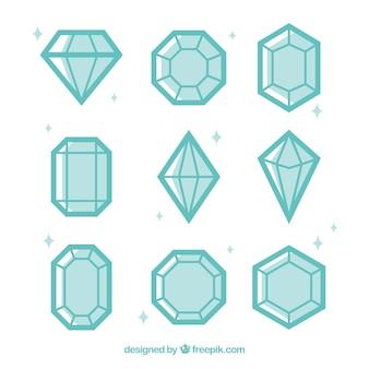 Asortyment diamentów w płaskiej konstrukcji