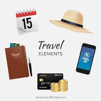Asortyment elementów podróżujących