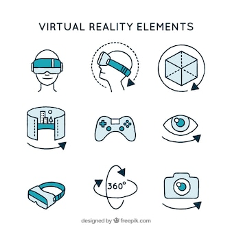 Asortyment elementów wirtualnej rzeczywistości