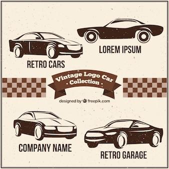 Asortyment fantastycznymi logo samochodów w stylu retro