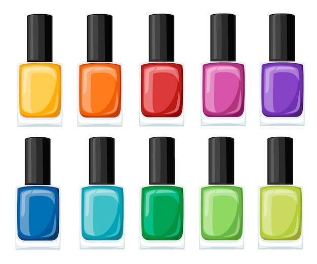 Asortyment lakierów do paznokci w pięknych, jasnych kolorach. kolekcja do manicure. ilustracja na białym tle.