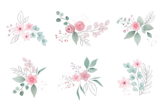 Asortyment liści i kwiatów akwarela