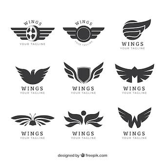 Asortyment logo skrzydeł w płaskim stylu