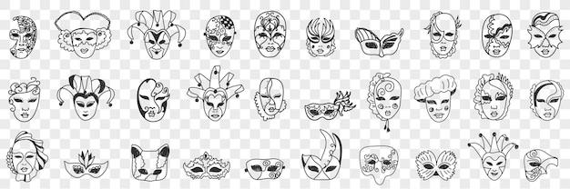 Asortyment maski karnawałowe doodle zestaw ilustracji