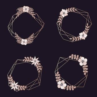 Asortyment obramowań geometrycznych weselnych