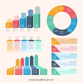 Asortyment płaskich elementów infographic
