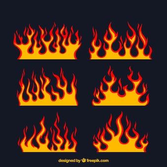 Asortyment płaskich płomieni z różnych wzorów