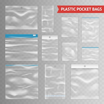 Asortyment plastikowych przezroczystych przezroczystych toreb realistycznych