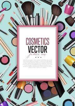 Asortyment produktów kosmetycznych banner realizmu