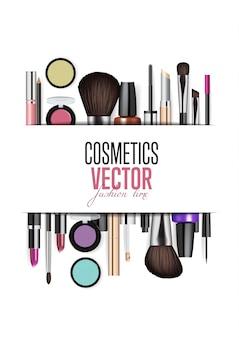 Asortyment produktów kosmetycznych realizm transparent wektor
