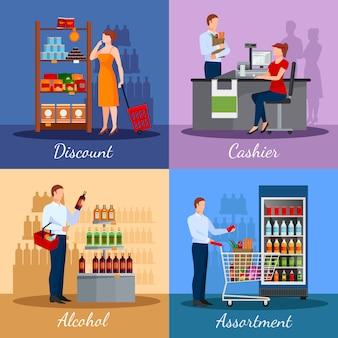 Asortyment produktów w supermarkecie