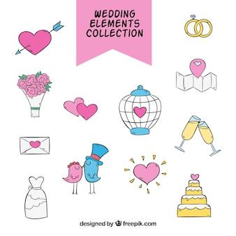 Asortyment ręcznie rysowanych obiektów ślubnych