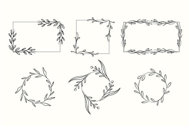 Asortyment ręcznie rysowanych ramek ozdobnych