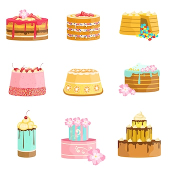 Asortyment słodkich ciast warstwowych