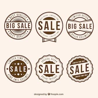 Asortyment sześciu okrągłych znaczków sprzedaży