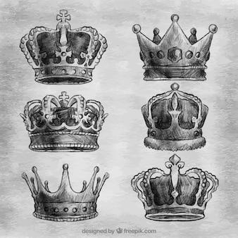 Asortyment sześciu ręcznie rysowanych koron