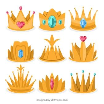 Asortyment sześciu złotych koron księżniczki