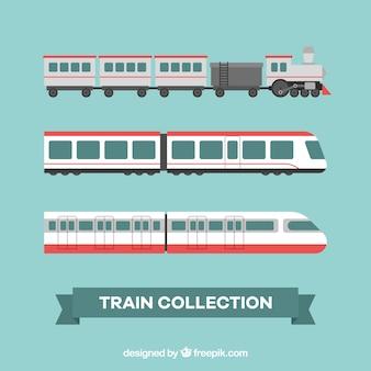 Asortyment trzech płaskich pociągów