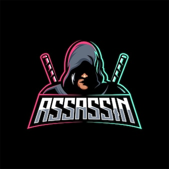 Assassin ninja z logo mieczem maskotka sportowa wzornik