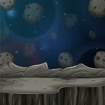 Asteroidy i planeta w gwiaździstej niebo ilustraci