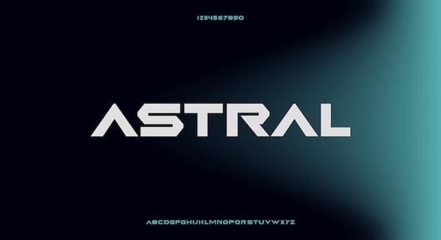Astral, abstrakcyjna futurystyczna czcionka alfabetu z motywem technologicznym. nowoczesny minimalistyczny projekt typografii