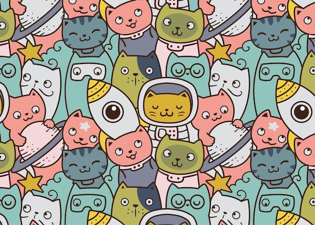 Astro koty kosmiczne doodle tło