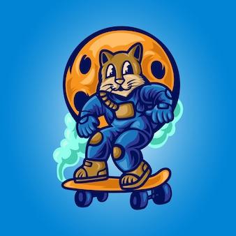 Astrocat gra na deskorolce