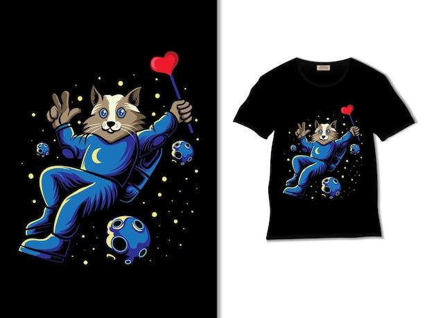 Astrocat unoszący się w kosmosie ilustracja z projektem koszulki
