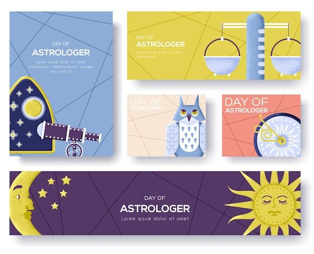 Astrologia ikony projektowania ilustracji. koncepcja elementów płaski horoskop. czasopisma, plakat, okładka książki, banery. układ ilustracji nowoczesnej strony suwaka. tekstura ziarna i efekt szumu.