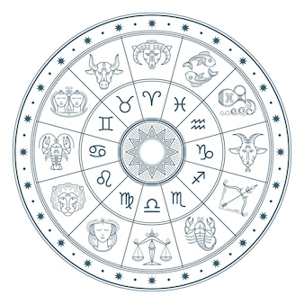 Astrologia koło horoskop z zodiaku znaki tło wektor