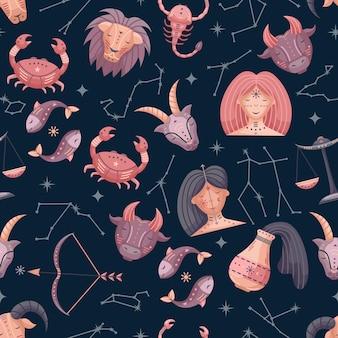 Astrologia płaski wektor wzór ze znakami zodiaku