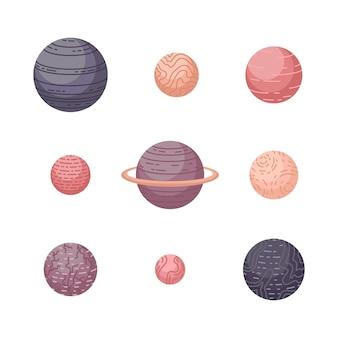 Astrologiczny wektor zestaw z planetami. ilustracje kosmiczne