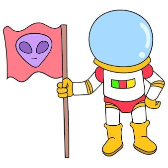 Astronauci badający przestrzeń niosącą obcą flagę, ilustracja wektorowa sztuki. doodle ikona obrazu kawaii.