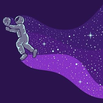 Astronauci grający w koszykówkę na białym tle w kolorze fioletowym