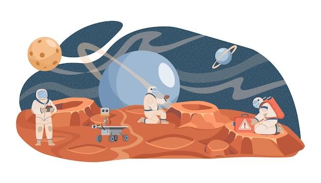 Astronauci i naukowcy badający powierzchnię planety wektor płaska ilustracja planeta