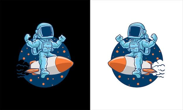 Astronauci jeżdżą na rakietach ilustracja kreskówka