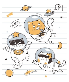 Astronauci koty doodle sztuki