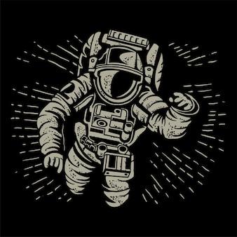Astronauci latają nad wektorem nocy księżyca