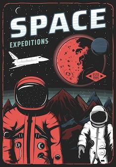 Astronauci na powierzchni marsa, plakat retro wyprawy kosmicznej