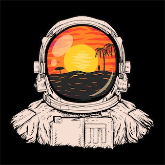 Astronauci patrząc na ilustrację plaży