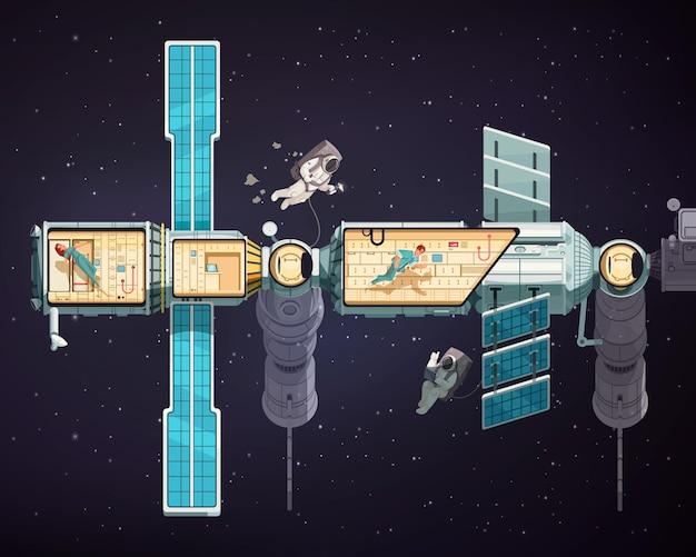 Astronauci w otwartej przestrzeni i międzynarodowej stacji orbitalnej wewnątrz i na zewnątrz ilustracji kreskówek