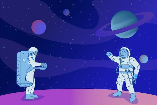 Astronauci w skafandrach kosmicznych stojących na planecie. kosmonauci na otwartej przestrzeni, ludzie w galaktyce, kosmiczna nauka.