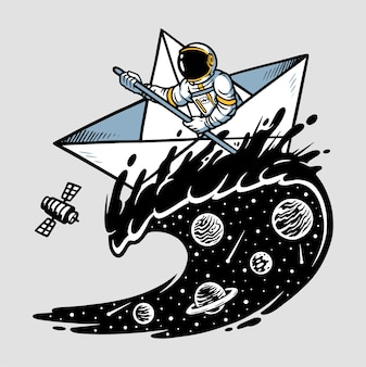 Astronauci żeglarstwo ilustracja