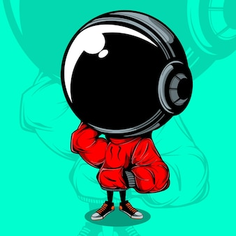 Astronaut vector illustration z urban street wear