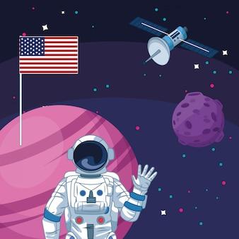 Astronauta amerykańska flaga planeta statek kosmiczny eksploracja przestrzeni kosmicznej