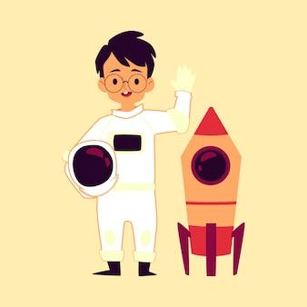 Astronauta chłopiec dziecko z rakietą kosmiczną płaskie kreskówka wektor ilustracja na białym tle.