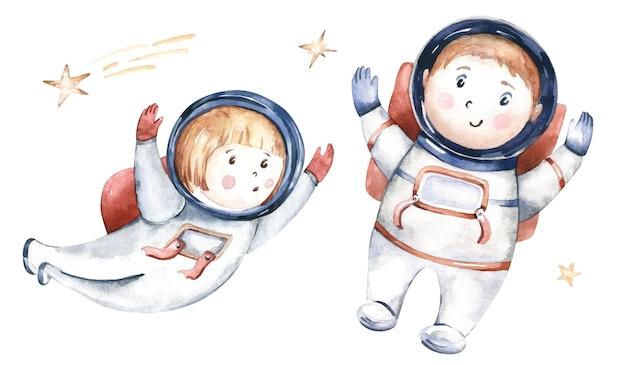 Astronauta chłopiec dziewczynka skafander kosmiczny kosmonauta gwiazdy akwarela ilustracja spaceman kreskówka dzieciak